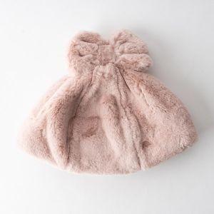 ファーリボン帽 ピンク