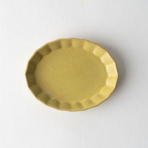 プリーツ楕円小皿 マスタード
