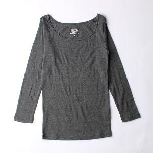 FRUIT OF THE LOOM 発熱インナーTシャツ Uネック九分袖 M チャコールグレー