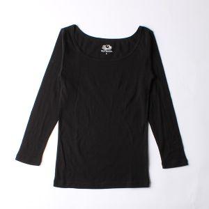 FRUIT OF THE LOOM 発熱インナーTシャツ Uネック九分袖 M ブラック
