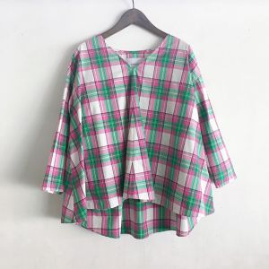 先染めオーガニックタイプライターチェックシャツ ピンク系 / assiette