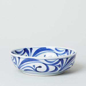 梅山窯 砥部焼の六寸鉢 内外唐草