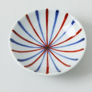 豆皿 呉須赤線 放射線状 / 梅山窯
