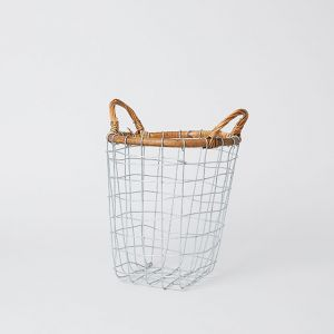 PUEBCO/プエブコ RATTAN TOP WIRE BASKET S
