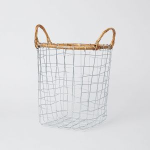 PUEBCO/プエブコ RATTAN TOP WIRE BASKET M