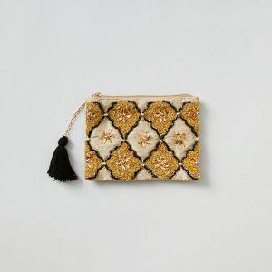 ビーズ刺繍フラットポーチ ベージュ
