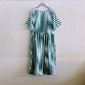 Gather Skirt Dress グリーンストライプ / Yarmo