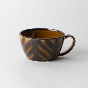 Folk design スープカップ 矢羽飴釉