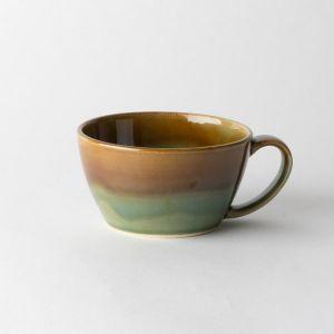 Folk design スープカップ 掛分織部飴釉