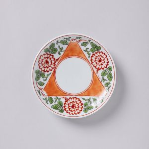 豆皿 色絵三方富士菊花文 / 与山窯