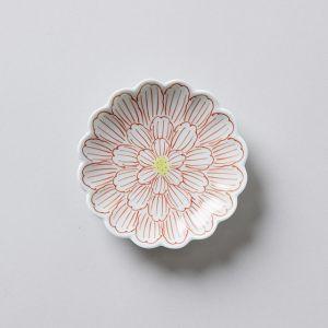 小皿3寸 錦牡丹菊型 / 渓山窯