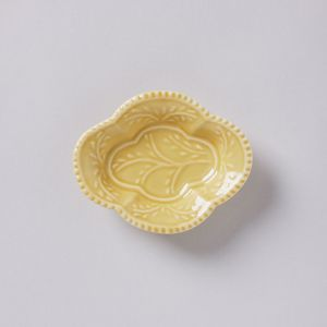 木瓜手塩皿 黄釉 / 与山窯