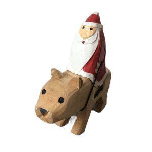 木彫りのオブジェ / Riding Bear Santa M