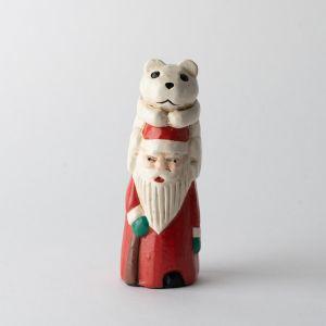 木彫りのオブジェ / Santa With White Bear S
