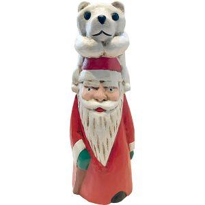 木彫りのオブジェ / Santa With White Bear M