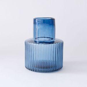 GLASS フラワーベース プロップ ワイド ブルー