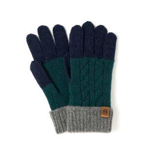 iTouch Gloves ケーブルブロック ネイビー×グリーン
