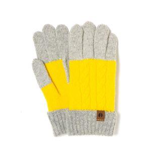 iTouch Gloves ケーブルブロック ライトグレー×マスタード