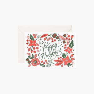 クリスマスカード ポインセチアプレス