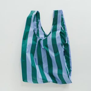 BAGGU Standard Bag ストライプ サックス×グリーン
