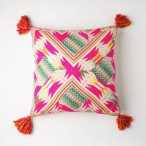 インド刺繍 パッチワーククッション 45×45 ピンクミックス