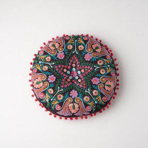 インド刺繍 ラウンドクッション ダークブラウン