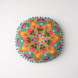 インド刺繍 ラウンドクッション マスタードB