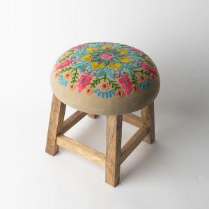 インド刺繍 GADDIスツール グレー