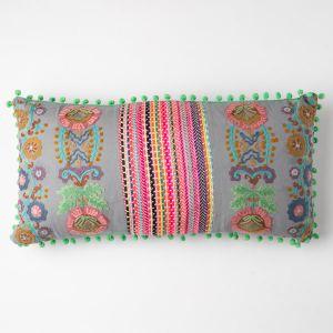 インド刺繍 ロングクッション 30×60 グレー