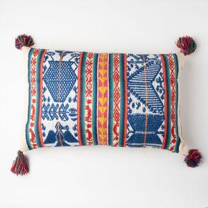 インド刺繍 ジャガードロングクッション 35×55 アイボリー