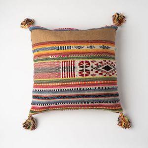 インド刺繍 ジャガードクッション 45×45 ブラウンミックス