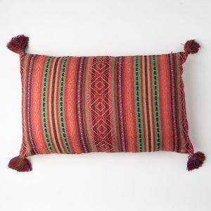 インド刺繍 ジャガードロングクッション 35×55 ピンクミックス