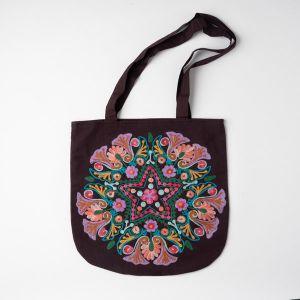 インド刺繍 ラウンドトートバッグ ブラウン