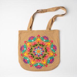 インド刺繍 ラウンドトートバッグ ベージュ