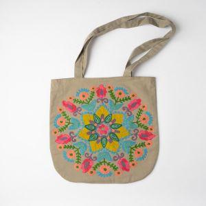 インド刺繍 ラウンドトートバッグ グレー