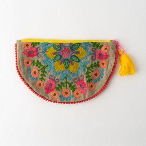 インド刺繍 ハーフムーンポーチ グレー