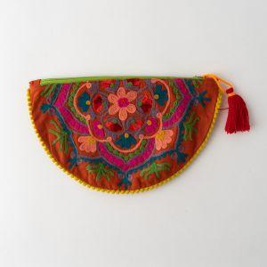 インド刺繍 ハーフムーンポーチ テラコッタ