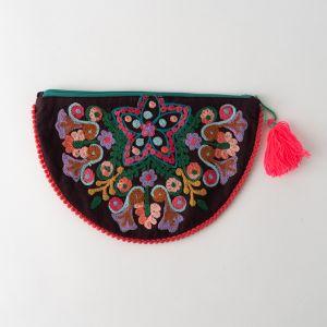 インド刺繍 ハーフムーンポーチ ブラウン