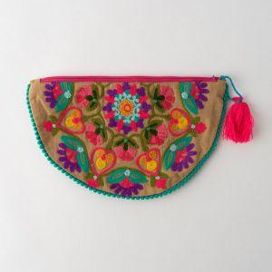 インド刺繍 ハーフムーンポーチ ベージュ