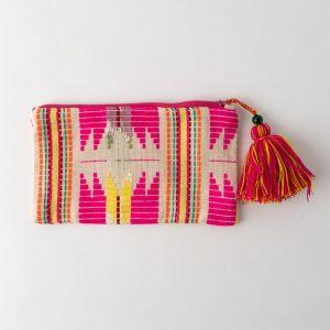 インド刺繍 レクタングルポーチ ピンク