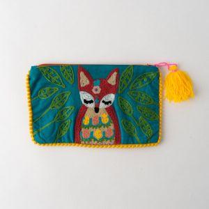 インド刺繍ポーチ ターコイズ