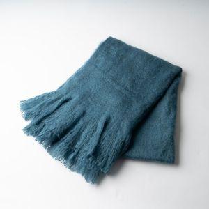 起毛ソリッドブランケット 80×130 ブルー