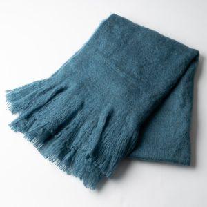起毛ソリッドブランケット 125×160 ブルー