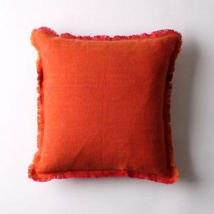リネンクッションカバー 45×45 フリンジ オレンジ