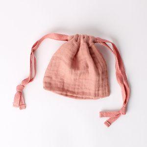 オーガニックコットン ガーゼミニ巾着 ダークピンク