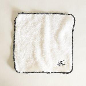 松尾ミユキ タオルハンカチ刺繍 stripe ブラック