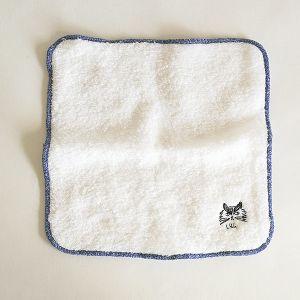 松尾ミユキ タオルハンカチ刺繍 fluffy ブルー