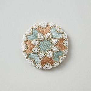 ビーズ刺繍ミラー ライトブルー