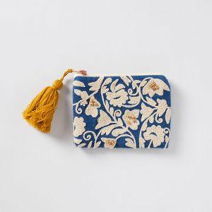 刺繍スクエアポーチ ブルー×オフホワイト