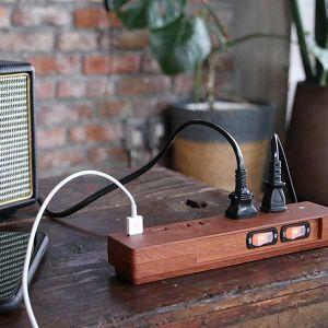【オンライン限定】NATURAL WOOD TAP AC3個口 2.1A USB2ポート ダークウッド